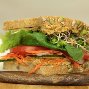 Photo of a Veggie Three Seed Hummus sandwich