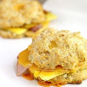 This is a photo of a breakfast sandwich on a biscuit