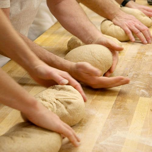 great harvest employees kneading dough